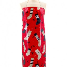 Adult PVC Apron Christmas Stocking Red