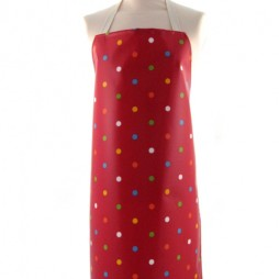 Adult PVC Apron Dot Happy Red