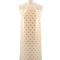 Adult PVC Apron Dotty Cream/Rose