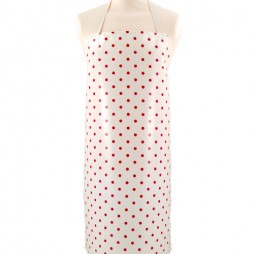 Adult PVC Apron Just Dotty Cream Red