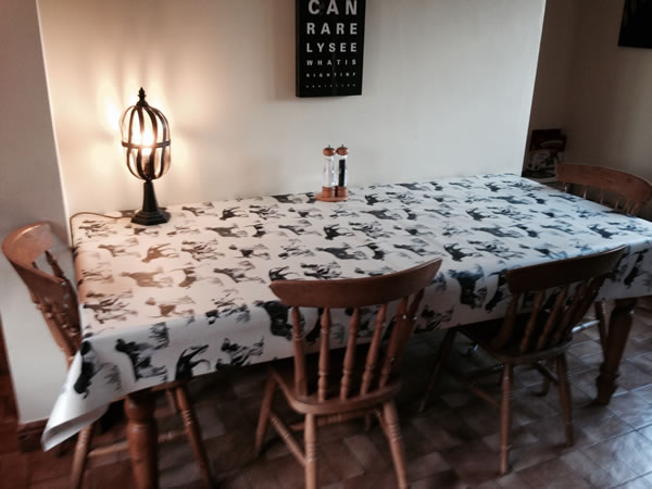 Working Dogs Charcoal Matt Vinyl Coated Tablecloth