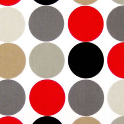 Dot On Red Gloss Vinyl Coated Tablecloth
