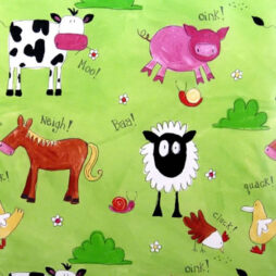 Animal Chatter Meadow Gloss Vinyl Coated Tablecloth