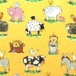 Animal Friends Sand Gloss Vinyl Coated Tablecloth