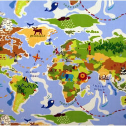 Around the World Gloss Vinyl Coated Tablecloth