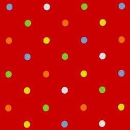 Dot Happy Red Gloss Vinyl Coated Tablecloth