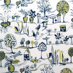 Vegetable Patch Mustard Vinyl Coated Tablecloth