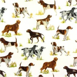 Working Dogs Tan Gloss Vinyl Coated Tablecloth