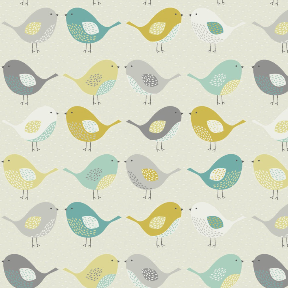 Scandi Birds Mustard Matt Vinyl Coated Tablecloth Just Wipe