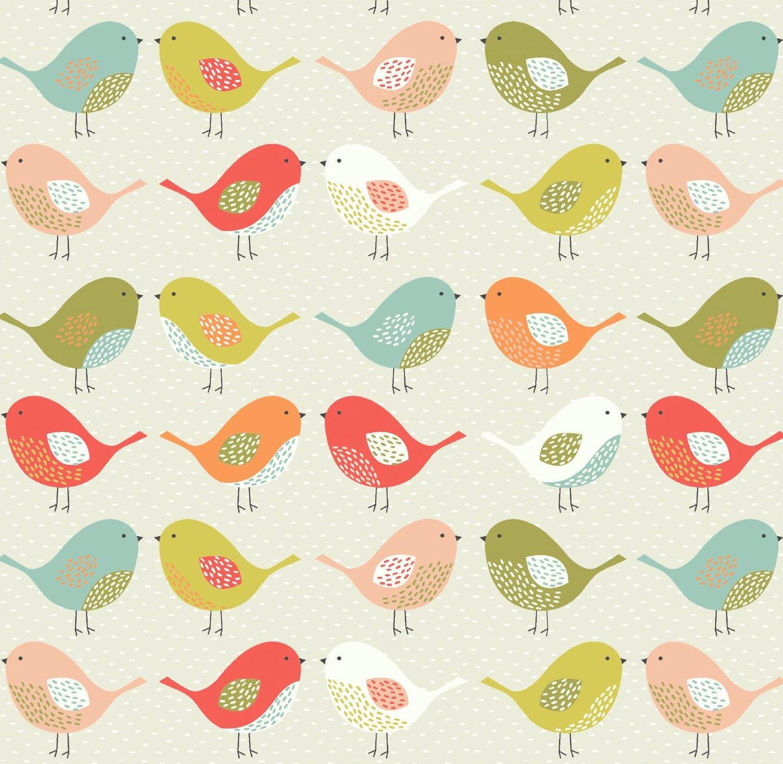 Scandi Birds Multi Matt Vinyl Coated Tablecloth Just Wipe