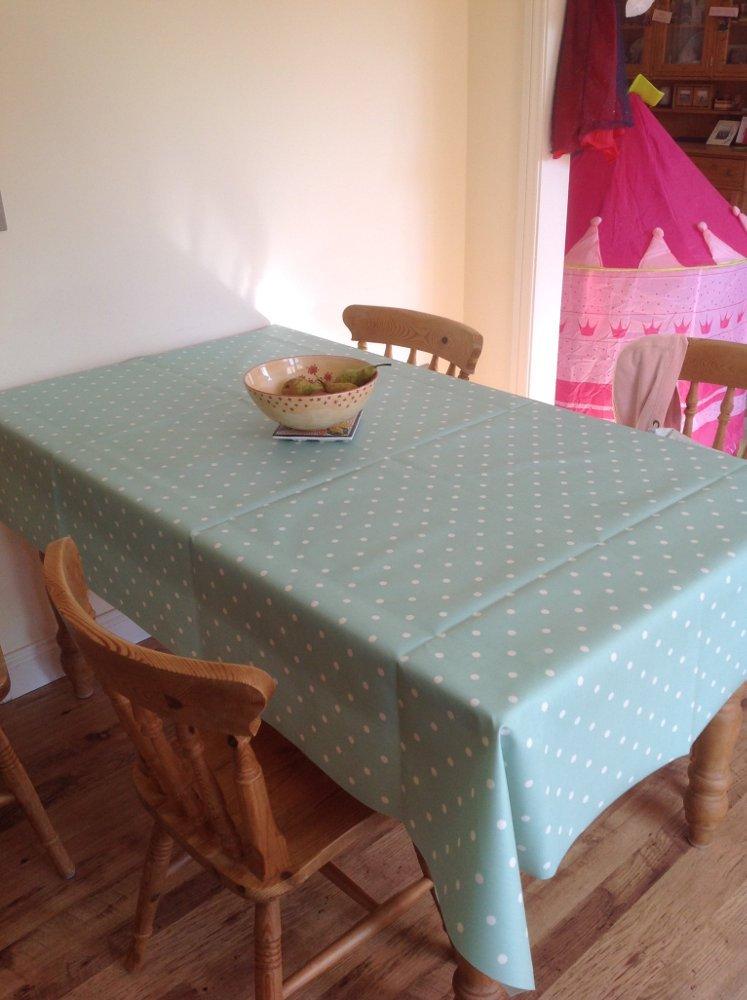 Dotty Seafoam Vinyl Coated Pvc Tablecloths Just Wipe
