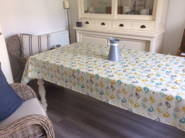 Scandi Birds Mustard Matt Vinyl Coated Tablecloth Just Wipe