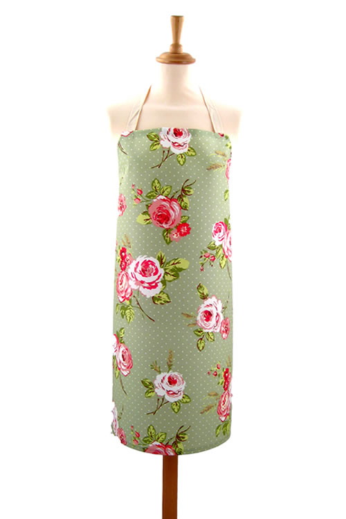 Adult PVC Apron English Rose Sage