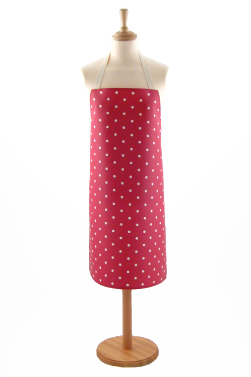 Adult PVC Apron Dotty Red