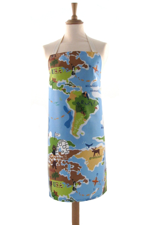 Adult PVC Apron World Map