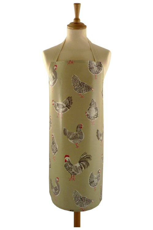 Adult PVC Apron Chickens Sage