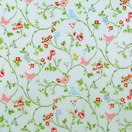 Bird Trail Seafoam Gloss Vinyl Coated Tablecloth