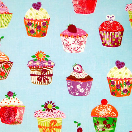 Cupcakes Blueberry Vinyl Coated Tablecloth