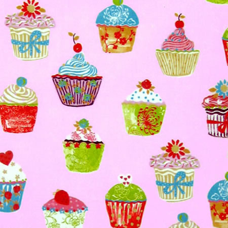 Cupcakes Strawberry Vinyl Coated Tablecloth