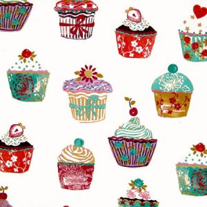 Cupcakes Vanilla Vinyl Coated Tablecloth