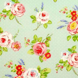 English Rose Duck Egg Matt Vinyl Coated Tablecloth