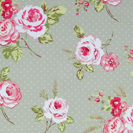 English Rose Sage Vinyl Coated Tablecloth