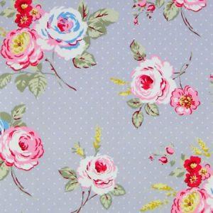 English Rose Steel Grey Matt Vinyl Coated Tablecloth