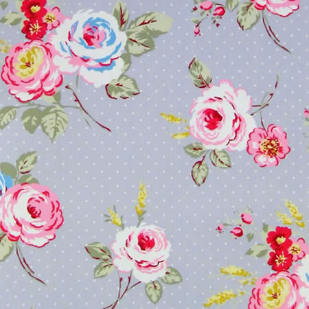 English Rose Steel Grey Matt Vinyl Coated Tablecloth