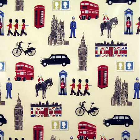 London Gloss Vinyl Coated Tablecloth