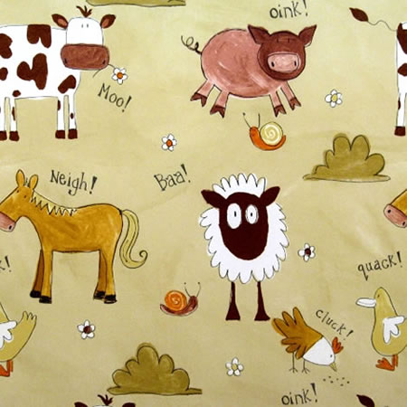 Animal Chatter Caramel Gloss Vinyl Coated Tablecloth