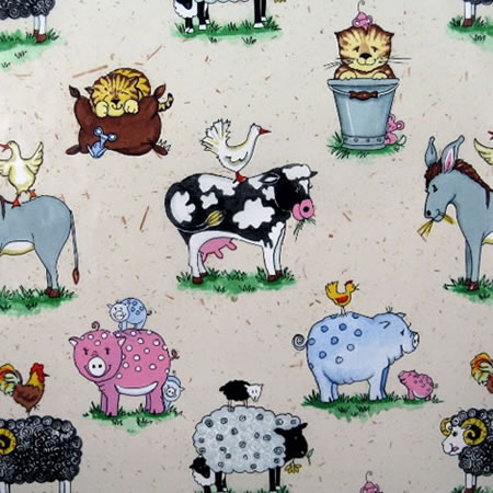 Animal Friends Natural Gloss Vinyl Coated Tablecloth