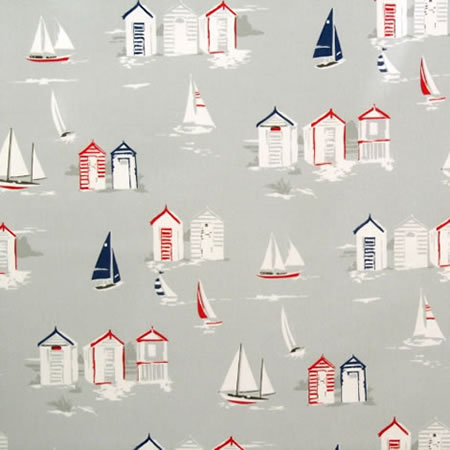 Beach Huts Gloss Vinyl Coated Tablecloth