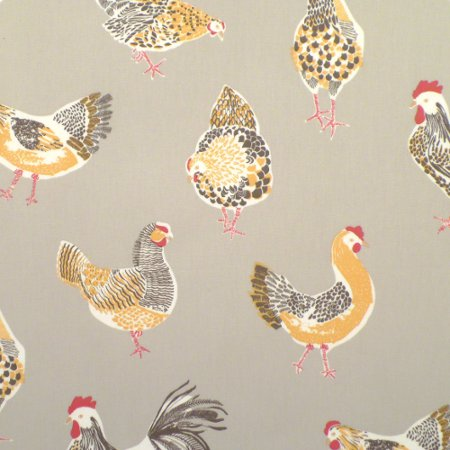 Chickens Taupe Matt Vinyl Coated Tablecloth