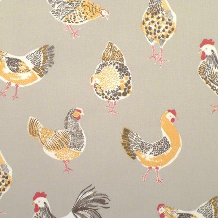 Chickens Taupe Matt Oilcloth