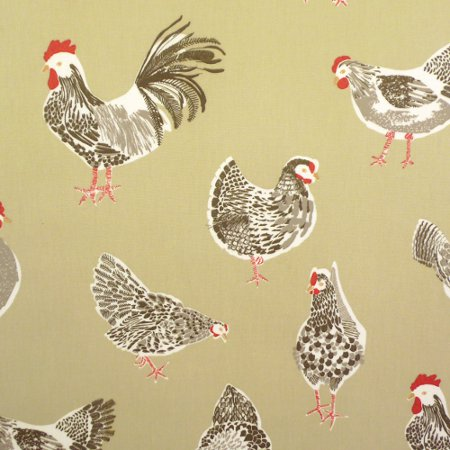 Chickens Sage Matt Vinyl Coated Tablecloth