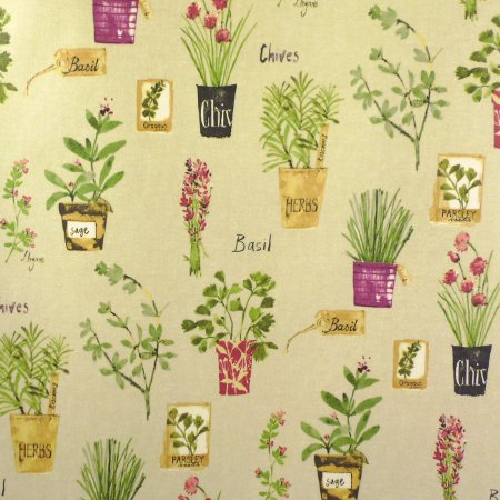 Herb Pots Matt Vinyl Coated Tablecloth