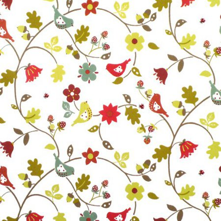 Love Birds Berry Gloss Vinyl Coated Tablecloth