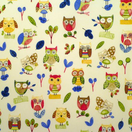 Ollie Owl Primary Gloss Vinyl Coated Tablecloth