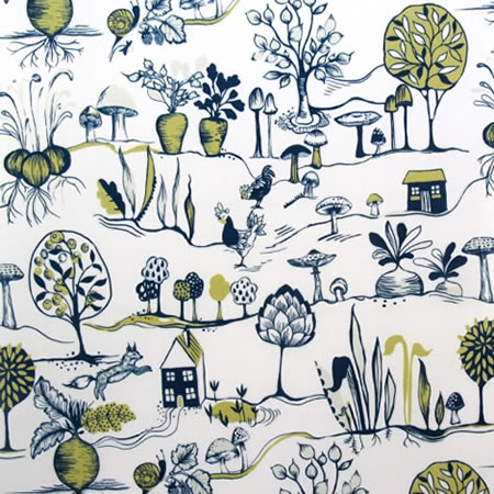 Vegetable Patch Mustard Oilcloth